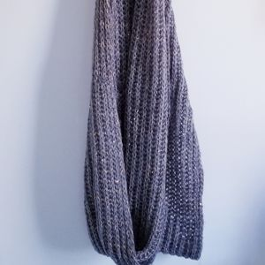 Express gray embellished knit infinity scarf
